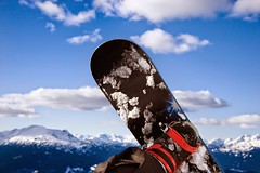 Stock Images (perfectionistreviews) Tags: color horizontal onepersononly vacation travel outdoors tourism recreation winter sport mountains snow skiresort snowboard leisure snowboarder closeup wormseyeview skigear whistler canada britishcolumbia photograph sportsandrecreation