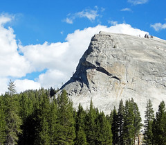 One Big Rock, Lembert Dome, Yosemite NP 10-16 (inkknife_2000 (9 million views)) Tags: easternsierranevada yosemitenationalpark california usa landscapes mountains snow snowonmountains dgrahamphoto lembertdome granitedome trees pinetrees spruce blueskyandclouds forest
