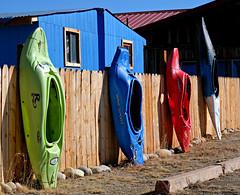 Kayak Fence (Colorado Sands) Tags: kayak fence colorado usa sandraleidholdt woodfence unique nathrop hff boat