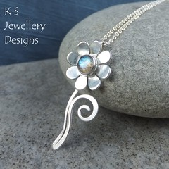 Labradorite Flower and Swirls Sterling Silver Pendant (KSJewelleryDesigns) Tags: metalwork flower pendant necklace jewellery jewelry handmade brightsilver shine sterlingsilver silverjewellery handcrafted silver silverwire metal hammered shiny polished bright soldered soldering brushed flowers petals sawing piercing silversmith silversmithing daisy daisies blooms blossom gemstone cabochon flowerpendant swirlblossom texture stamens organic wirework stonesetting labradorite