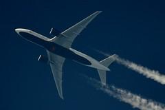 Air Canada Boeing 777/200 (stephenjones6) Tags: jet aircraft plane civil aviation air canada boeing 777 777200 ott blue sky highaltitude extremespotting chemtrail contrail vapour nikon d3200 skywatcher dobsonian telescope
