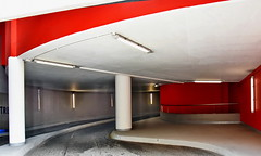 ins and outs (Harry Halibut) Tags: 2018©andrewpettigrew allrightsreserved imagesofsheffield images sheffieldarchitecture sheffieldbuildings colourbysoftwarelaziness sheffield south yorkshire sheff1805268392 charles street car park red curvy ramp concrete columns