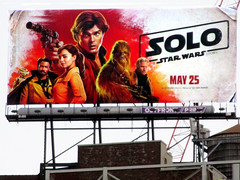 Solo A Star Wars Movie Billboard NYC 3008 (Brechtbug) Tags: solo a star wars movie billboard alden ehrenreich han donald glover lando calrissian joonas suotamo chewbacca woody harrelson tobias beckett may 2018 new york city portrait portraits eight story space opera film science fiction scifi robot metal man adventure galactic prototype design metropolis standee nyc poster billboards posters 34th st herald square ad ads advertisement advertisements 05242018