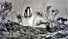 Capsule Taking Off from Earth. (ManOfYorkshire) Tags: spaceship takeoff invasion 1966 film bmovie movie bw blackwhite sciencefiction scifi capsule british alien escapee escaping lifepod