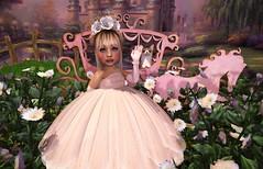 Lil Princess (Serena Reins) Tags: confession photography pose secondlife baby serena toddleedoo cutie bites mesh bento kid princess corgi chariot feild flowers horse carriage royal wedding castle