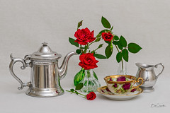 Tea Time and Roses (Bob C Images) Tags: flowers garden stilllife tea pitcher cup vase roses a7rii
