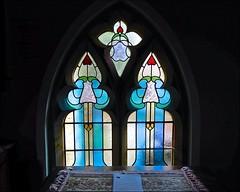 Arts & Crafts Blues (violetchicken977) Tags: windowswednesday stainedglass blueglass sleightsbriggswathwesleyanchurch