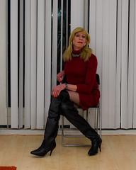 Woolen dress and OTK boots. (sabine57) Tags: transvestism crossdressing crossdress crossdresser cd tgirl tranny transgender transvestite tv travestie drag highheels boots otkboots overkneeboots pantyhose tights dress woolendress reddress
