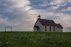 Little Church on the Prairie (Nancy King Photography) Tags: prairie evening nebraska wildflowers church clouds