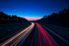 Highway A33 (Bielefeld-Brackwede) (Jens Flachmann) Tags: bielefeld germany brackwede highway blue night lighttrails traffic street dusk e batis225 availablelight general bluehour