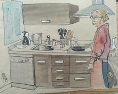 Cocina y cocinera (Fotero) Tags: cocina amigos viaje cadiz andalucia retrato usk urbansketch urbansketcher urbansketching dibujo cuaderno cuaderno16 sketchbook acuarela watercolor