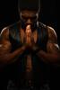 Not a Prayer (PVA_1964) Tags: nikon d850 105mmg14 afs105mmƒ14 sb700 sb500 westcott wireless strobe speedlight cls awl model male badass darkness prayer pray praying leather vest chest arms muscles tattoos beard black studio multiflash ttl