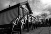 Hadlow Road Signal Box (101/365) (Capturing The Negative) Tags: hadlowroad railway railwaystation wirral wirralcountrypark wirralway blackandwhite bnw bw canon canon650d cheshire willaston project365 fltofb