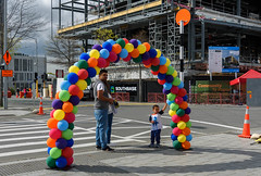Don't Pop Them (Jocey K) Tags: newzealand nikond750 southisland christchurch cbd people cathedralsquare clouds sky trees balloons rebuild construction shadows buildings architecture