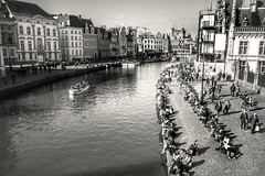 On the waterfront (wimkappers) Tags: blackwhitephotos bnw monochrome city street streetview scenery belgium canal ghent water people