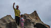 Waving to Mummy (Theen ...) Tags: dad daughter kangarooisland remarkablerocks sky southaustralia stripes theen waving
