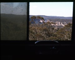 office view, 1980 (sth475) Tags: railway railroad train scanned slide colourslide brakevan guardsvan view fromthevan scenic scenery windwo freight goods van caboose nvffclass fhgclass nvff31765 mainwest shortwest bluemountains nsw australia spring