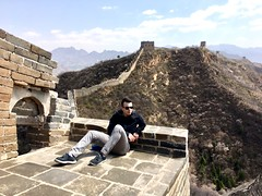 Resting on The Great Wall of China (badjonni) Tags: china travel hangzhou beijing greatwall adventure guy mate dude solo outdoor pose