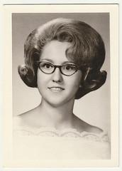 Vintage 1967 Portrait : Sue Sartor,  Senior Age 17 (CHAIN12) Tags: scanned photo vintage snapshot scan portrait studio younglady nerdy nerd glasses bouffant flip phtfndr1967suesartorseniorage17 sue susan sartor