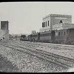 Jaffa & Jerusalem Railway  - J&J 2-6-0 steam locomotive (Baldwin Locomotive Works, 1890) and passenger train in Jerusalem station (glass slide) thumbnail