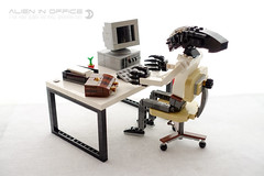 Alien in Office (dvdliu) Tags: alien xenomorph office business lego moc pc computer crt monitor chair briefcase mouse keyboard document tray table furniture worker