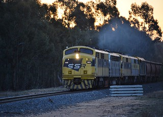 With the setting sun dropping below the trees, GM10+B61+GM22+GM27+442s5 lead the 1st SSR operated standard gauge grain train on the Mildura line