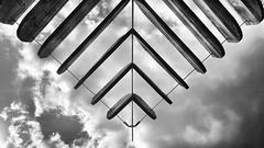 Like wings in the wind (ANBerlin) Tags: sonnensegel shadesails sunsails awnings städtisch urban drausen outdoor geometrisch geometrical fluss river spree deutschland germany berlin friedrichshain stralauerallee behalaamosthafen struktur structure abstrakt abstract ausergewöhnlich extraordinary symmetrie symmetry linien lines wolken clouds himmel sky heaven einfarbig monochrome biancoenero noiretblanc schwarzweis blackwhite sw bw anb030 shotoniphone iphotography iphonography 8plus iphone8 iphone apple