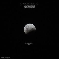 Super Blue Blood Moon - Total Lunar Eclipse (Craig Jewell Photography) Tags: 31january2018 australasia australia bluemoon camp eclipse fullmoon iron karara mine mining outback rothsay superluna supermoon timelapse video westernaustralia f50 ef135mmf2lusm ¹⁄₈₀₀sec canoneosm iso400 135 20180131202242mg5002edittif noflash 0ev
