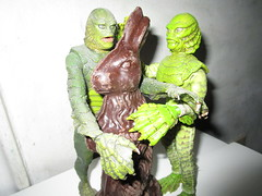 Easter Creature and Chocolate Rabbit 9073 (Brechtbug) Tags: easter creature chocolate bunny rabbit 2018 universal pictures studio black lagoon monsters new york city undead zombie cadaver horror terror halloween fright toy toys moody shadow shadows face portrait 1954 movie film hollywood fish man gill gillman collectable collectible type lite light holiday gloomy goth gothic action figure chocolates eeeaster april fools green 04012018