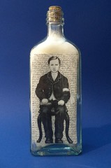 Arthur Rimbaud on His First Communion (LenCowgill) Tags: len cowgill art drawing arthur rimbaud boy first communion found objects bottle
