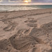 Footprints in the DR sand at sunrise