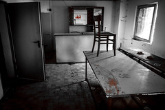 Creepy Lost Place: What happened here? (Herr Nergal) Tags: place creepy scary black white red blood horror grusel saarland lost lumix panasonic fz1000 traces crime scene verlassen hütte cabin verbrechen losheim schaurig lostplace