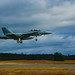 Panning VAQ-129 Vikings' Boeing EA-18G Growler on Short Final to OLF Under the Overcast