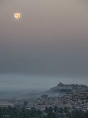 moon shine (sami kuosmanen) Tags: asia sky winter nature maisema mist haze usva sumu rock geology granite moon luonto light landscape taivas tree morning aamu talvi travel