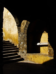 Eastern Gate of Old Medina (RobertLx) Tags: medina light old entrance gate casablanca africa morocco contrast yellow black stairs city shadow column arch maghreb middleeast ruins ancient architecture