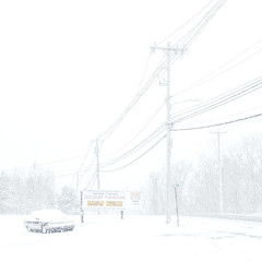 Fargo (reinfected) Tags: fargo desolate snow new york ny upstate alone winter snowing powerlines car abandoned snowed over sign old white nothing