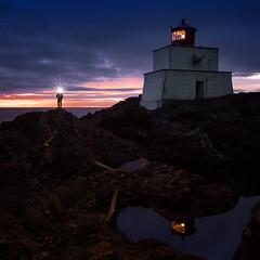 Keeper of the light (Mark Heine Photos) Tags: lighthouse crashing waves westcoast vancouverisland amphitritepoint reflection rocks humanelement markheine sunset shore light pacificocean