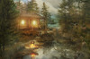 hut near the stream (begemot_dn) Tags: orange manipulation twilight sleepwalking night dark time space dream illusion fantasy illustration philosophy psychology crazy schizophrenia paranoia openness acceptance thoughts inside ghost mystery fiction cycle period tranquility pastime