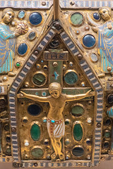 Chasse (reliquary box) with life of Christ (Nick in exsilio) Tags: newyork unitedstates us reliquary enamel crucifixion jesus relics chasse jewels gold gilt