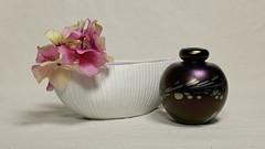 Still Life with vase and Perfume Bottle (N.the.Kudzu) Tags: tabletop stilllife vase flowers perfume bottle canon70d canoneflens primelens flash