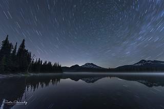Star Trails over Sparks Lake. (Mt Bachelor Area, Central Oregon).