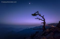 Beautiful Colors after Sunset (Photonistan) Tags: moon sky mountain nature nightphotography nightshots nightsky sun sunset moonatsunset tree valley streetlights photonistan photography nikon