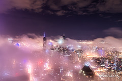(6.18.18)-360_Fog-WEB-2 (ChiPhotoGuy) Tags: chicago architecture skyline cityscape clouds cloudporn fog foggy chasingfog weather night dusk bluehour observatory moody