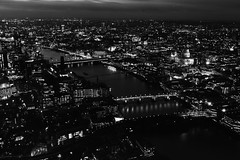 London Nightscape XLVI (Douguerreotype) Tags: monochrome buildings cityscape cathedral lights city night bw uk british mono gb blackandwhite architecture britain england urban london bridge river dark thames
