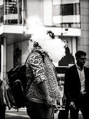 houdini (grizzleur) Tags: olymplus omd olympusomdem10mkii omdstreetphotography bw mono monochrome blackandwhite street photography candid olympusm45mmf18 olympusmzuiko45f18 smoke smoker vapor vapour dampf dampfen dampfer ecigarette cigarette olylove funny decisive moment