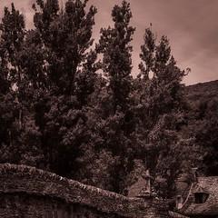 De l'haut-delà (Napafloma-Photographe) Tags: france aveyron noiretblanc blackandwhite bw bandw landscapenoiretblanc landscape paysageennoiretblanc paysage croix pont bridge pierre arbre