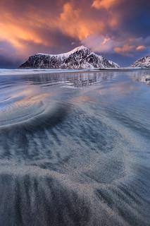 Skagsanden sunset, Lofoten Islands