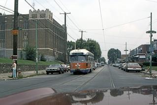 US PA Philadelphia SEPTA PCC 2186 10-1981 Rt 36 Elmwood-67th