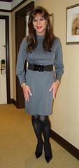 Gray Dress (xgirltv1000) Tags: tgirl trans transgender transwoman transisbeautiful crossdress genderfluid girlslikeus transformation makeover maletofemale mtf michellemonroe