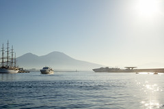 Morning light over the Gulf of Naples (www.holgersbilderwelt.de) Tags: napoli vesuv nature beautiful light sky water travel landscape summer beach morning color italy mountain ocean reflection europe outdoor amazing classic weather scenic lovely historic season calm perspective waterscape aperture vulcano